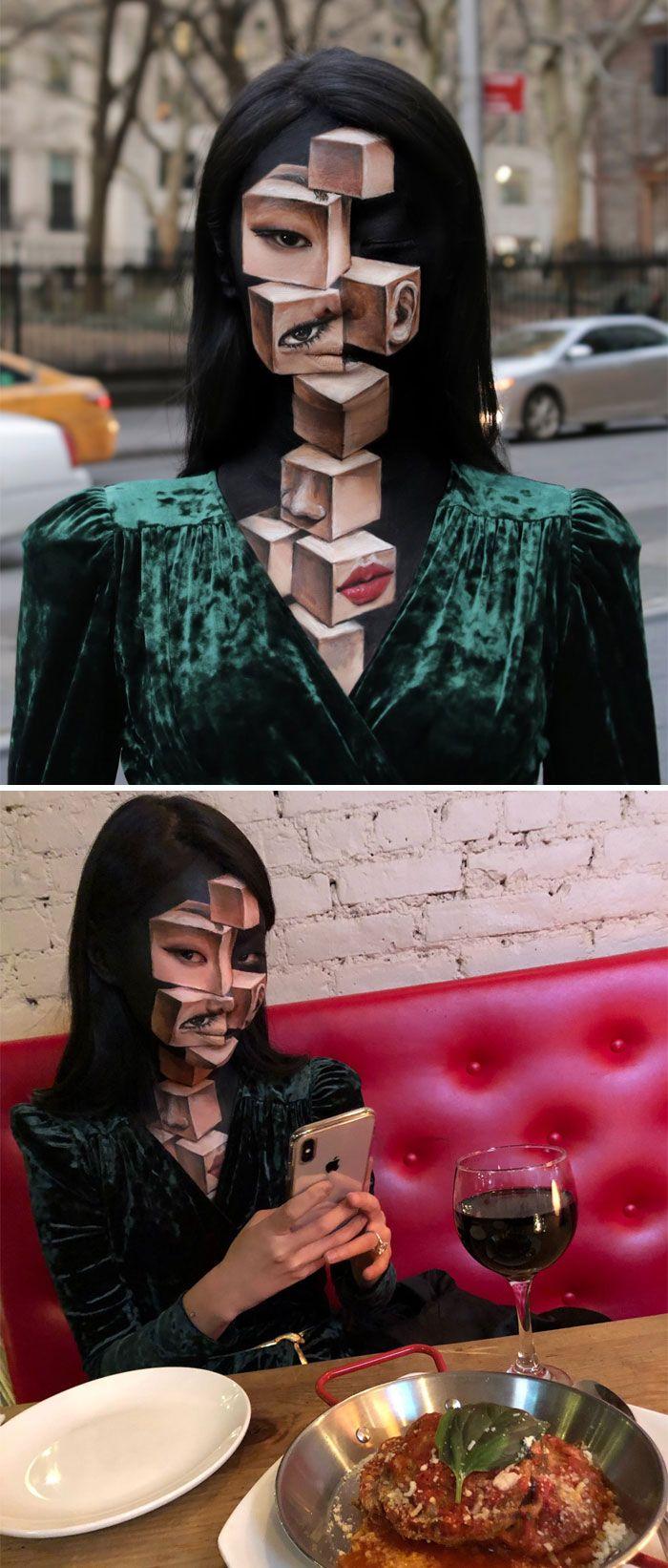 O que este artista faz com o rosto dela mexe seriamente com a sua mente (36 fotos) 13