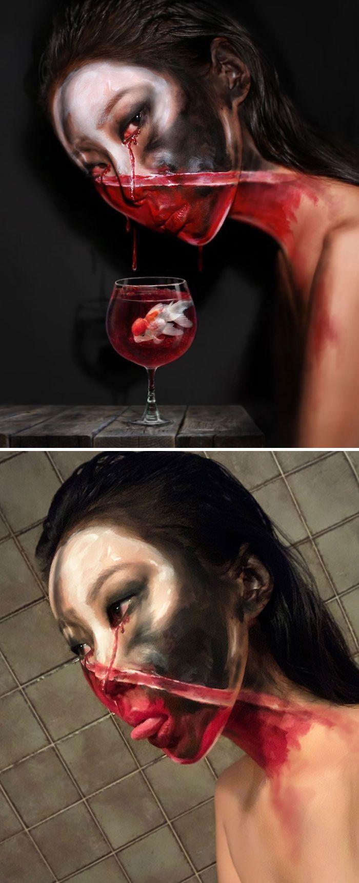 O que este artista faz com o rosto dela mexe seriamente com a sua mente (36 fotos) 36
