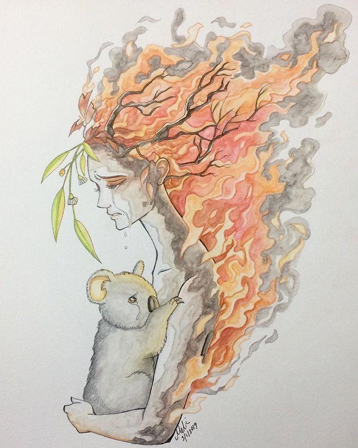 Pessoas de todo o mundo estão compartilhando arte de tributo aos incêndios florestais australianos (30 fotos) 2