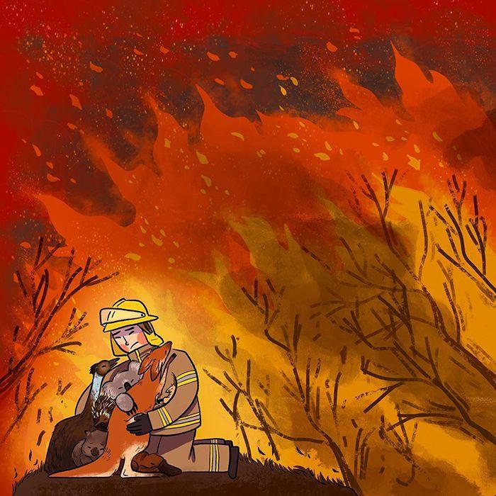 Pessoas de todo o mundo estão compartilhando arte de tributo aos incêndios florestais australianos (30 fotos) 4