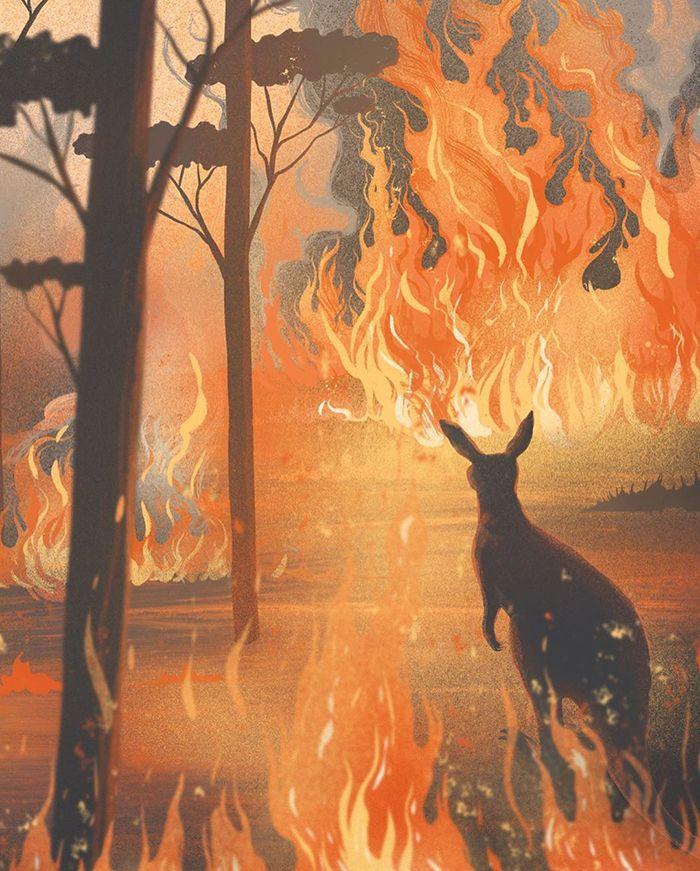 Pessoas de todo o mundo estão compartilhando arte de tributo aos incêndios florestais australianos (30 fotos) 6