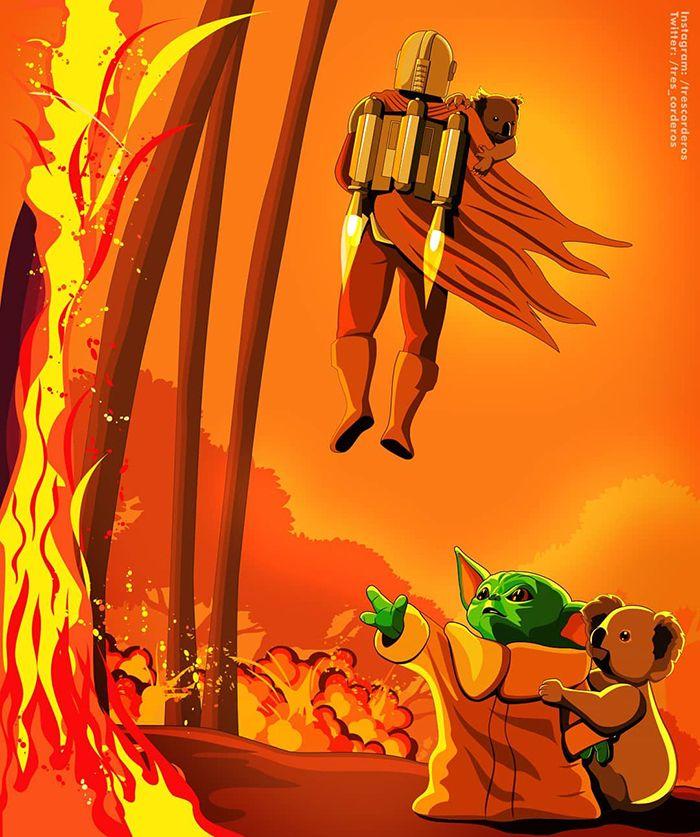 Pessoas de todo o mundo estão compartilhando arte de tributo aos incêndios florestais australianos (30 fotos) 7