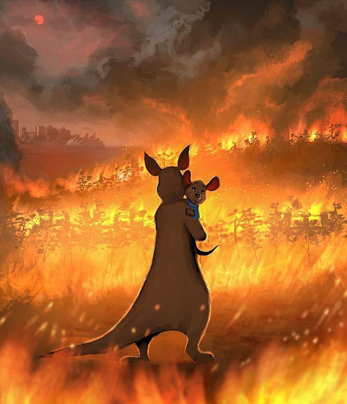 Pessoas de todo o mundo estão compartilhando arte de tributo aos incêndios florestais australianos (30 fotos) 19