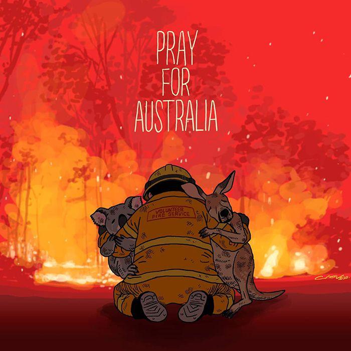 Pessoas de todo o mundo estão compartilhando arte de tributo aos incêndios florestais australianos (30 fotos) 24