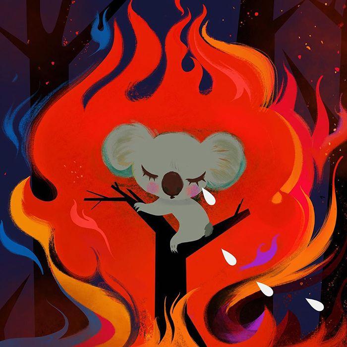 Pessoas de todo o mundo estão compartilhando arte de tributo aos incêndios florestais australianos (30 fotos) 27