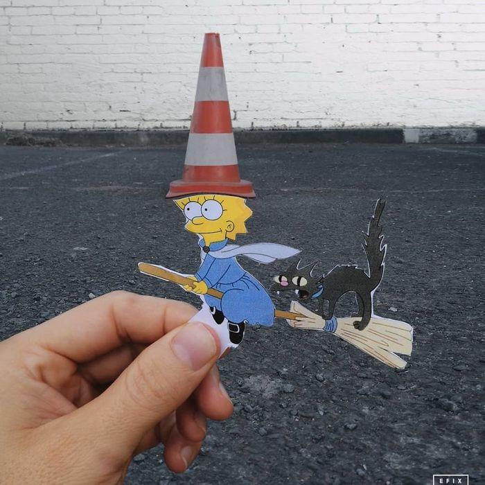 Artista dá vida às ruas simples adicionando personagens divertidos (34 fotos) 5