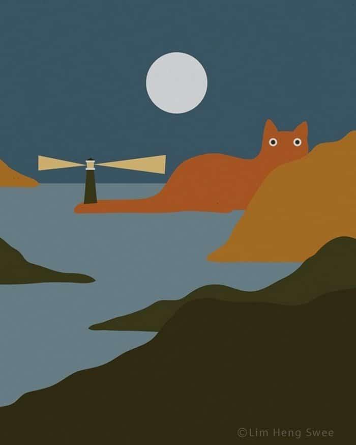 Artista esconde gatos em suas pinturas, criando um novo tipo de arte que chamamos de paisagens de gatos (25 fotos) 5