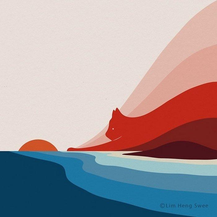 Artista esconde gatos em suas pinturas, criando um novo tipo de arte que chamamos de paisagens de gatos (25 fotos) 13