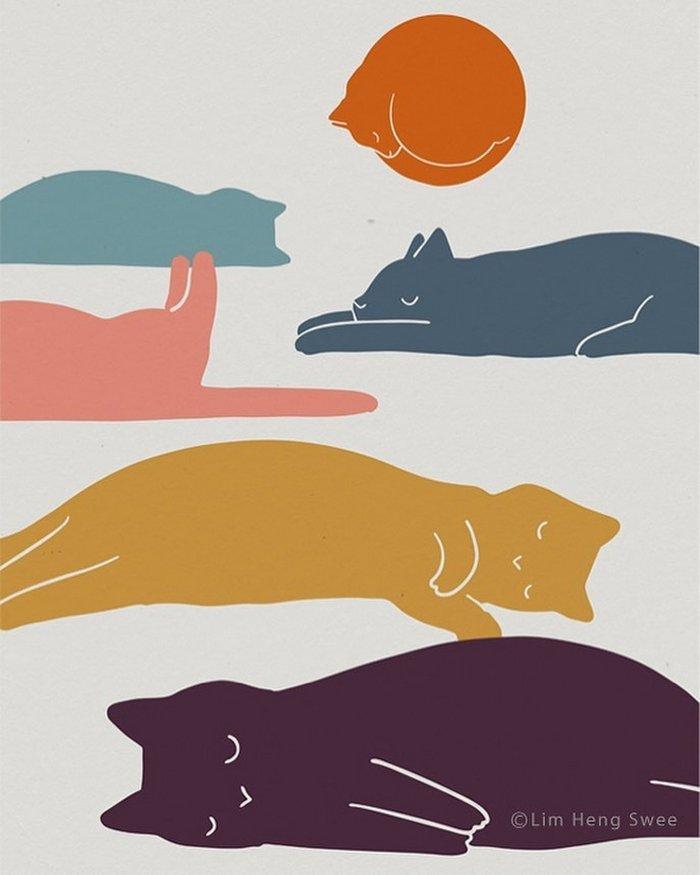 Artista esconde gatos em suas pinturas, criando um novo tipo de arte que chamamos de paisagens de gatos (25 fotos) 15