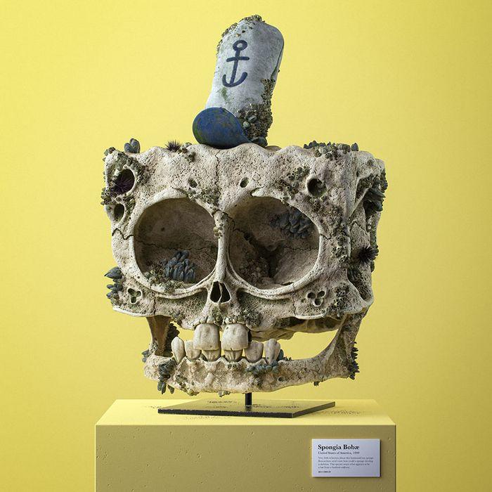 Ilustrador cria fósseis de crânio anatômico de personagens de desenhos animados icônicos 6
