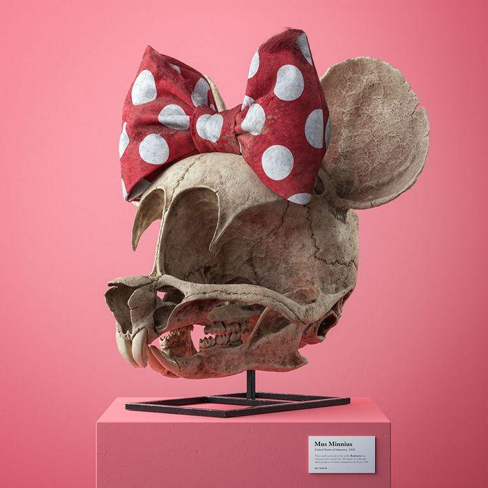 Ilustrador cria fósseis de crânio anatômico de personagens de desenhos animados icônicos 10
