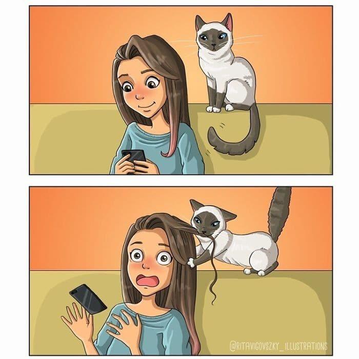 Artista ilustra a vida cotidiana com um gato nesses 31 quadrinhos 6
