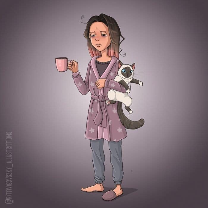 Artista ilustra a vida cotidiana com um gato nesses 31 quadrinhos 12