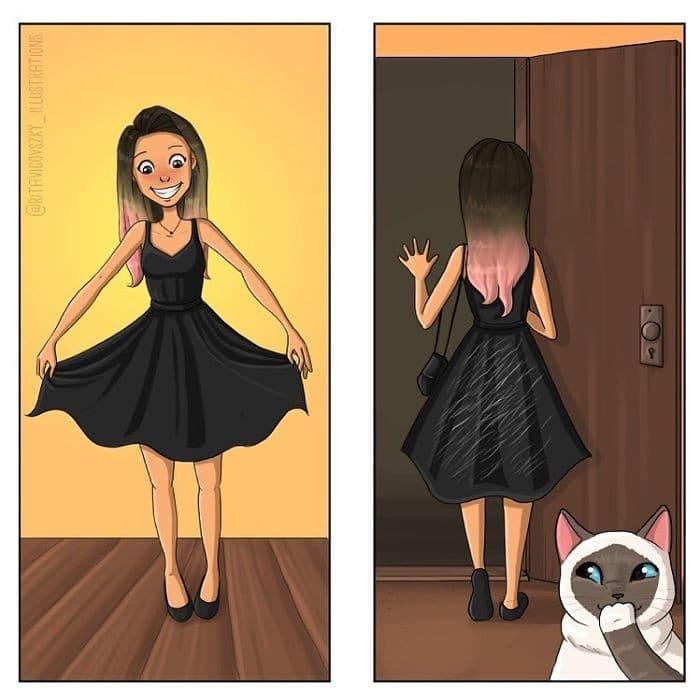 Artista ilustra a vida cotidiana com um gato nesses 31 quadrinhos 14