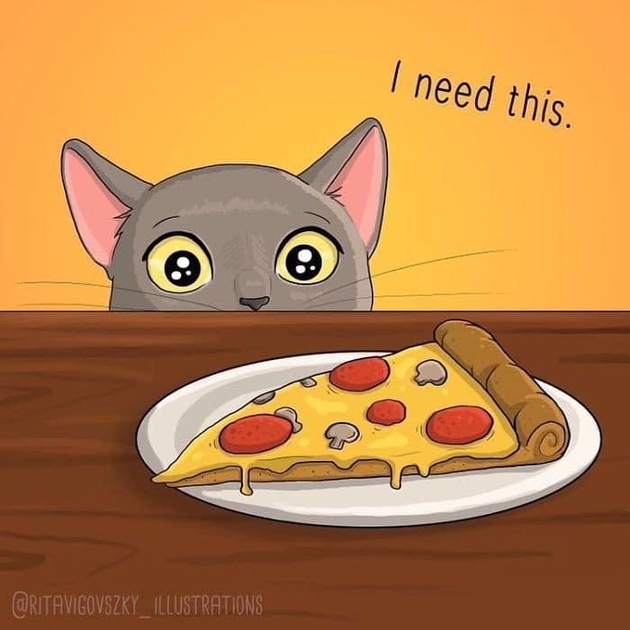 Artista ilustra a vida cotidiana com um gato nesses 31 quadrinhos 16
