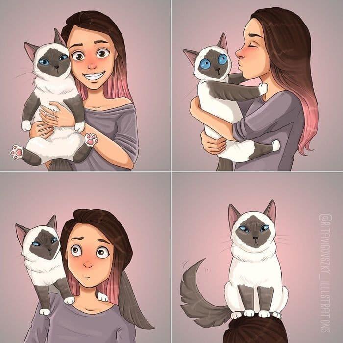 Artista ilustra a vida cotidiana com um gato nesses 31 quadrinhos 22