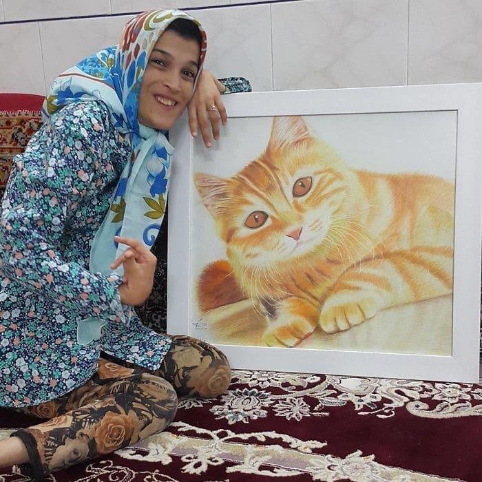 35 retratos incríveis desta artista iraniana com deficiência que usa apenas o Pé 13