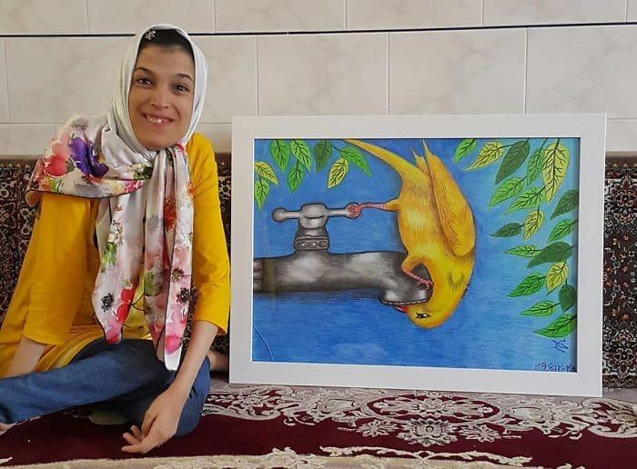 35 retratos incríveis desta artista iraniana com deficiência que usa apenas o Pé 19