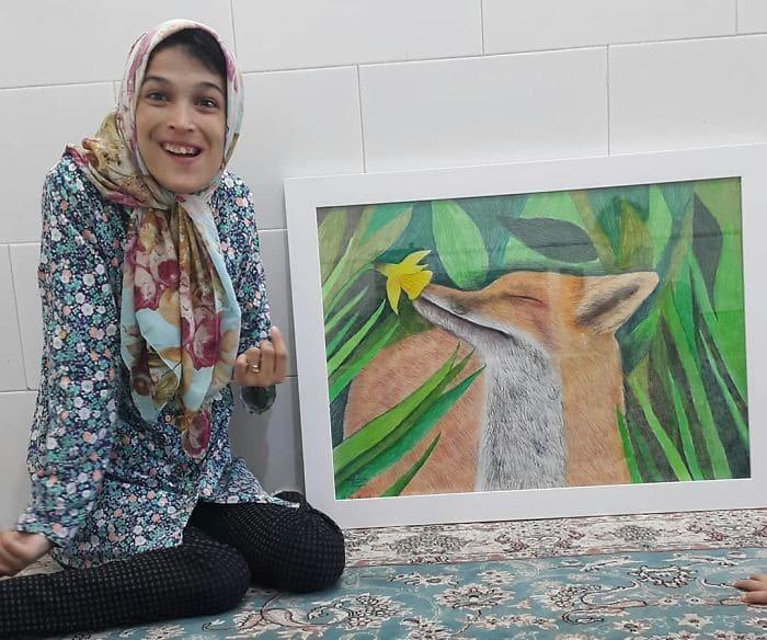 35 retratos incríveis desta artista iraniana com deficiência que usa apenas o Pé 21