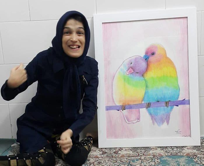 35 retratos incríveis desta artista iraniana com deficiência que usa apenas o Pé 26