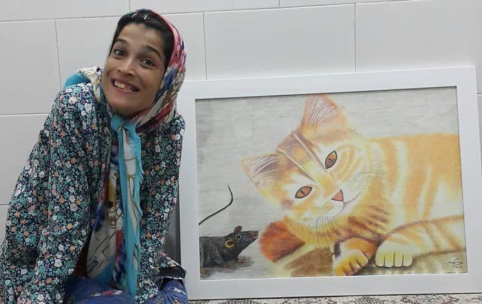 35 retratos incríveis desta artista iraniana com deficiência que usa apenas o Pé 33