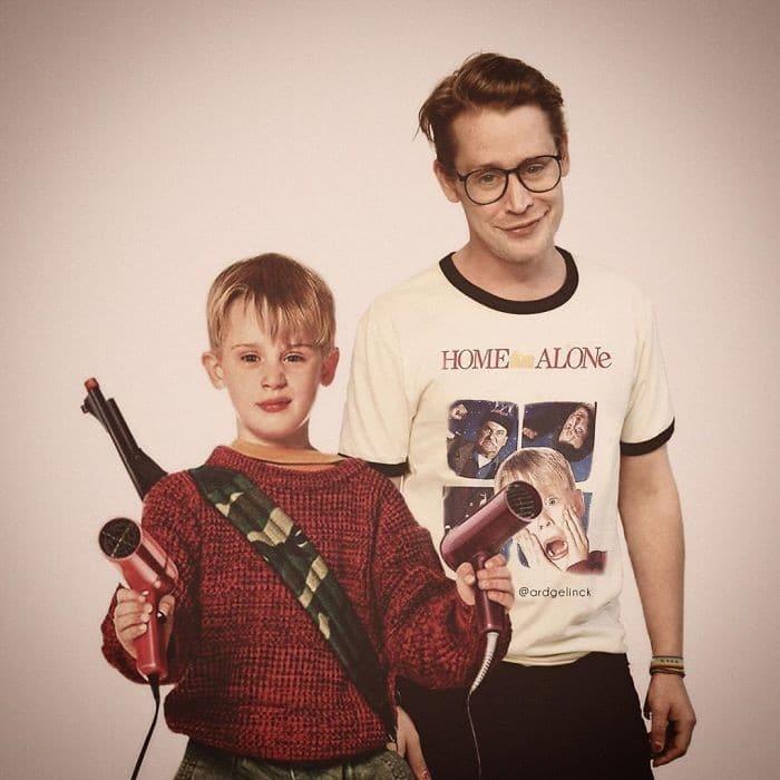 Este artista mostra celebridades lado a lado com seus jovens (30 fotos) 14