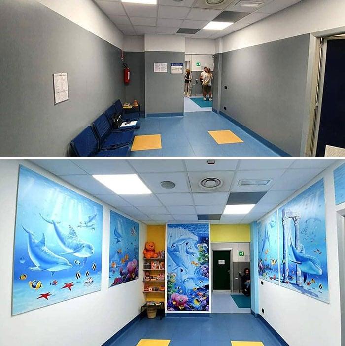 34 fotos de belos murais em hospitais do artista italiano que ajudam crianças e adultos 3