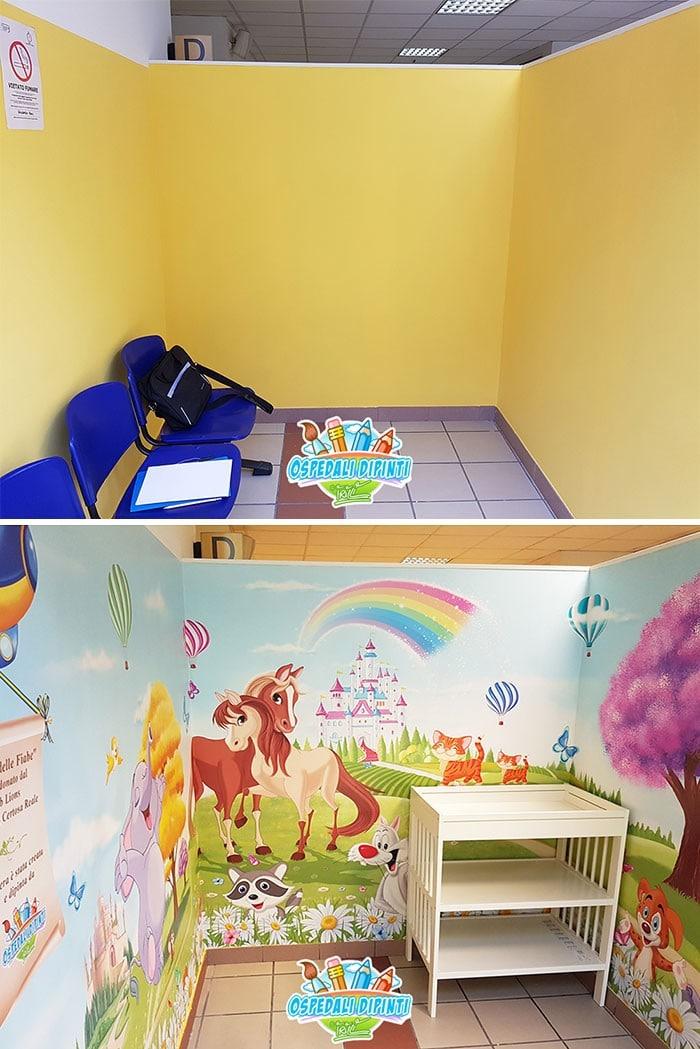 34 fotos de belos murais em hospitais do artista italiano que ajudam crianças e adultos 4