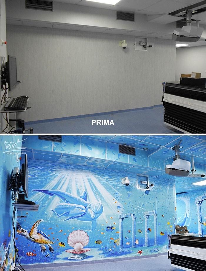 34 fotos de belos murais em hospitais do artista italiano que ajudam crianças e adultos 5