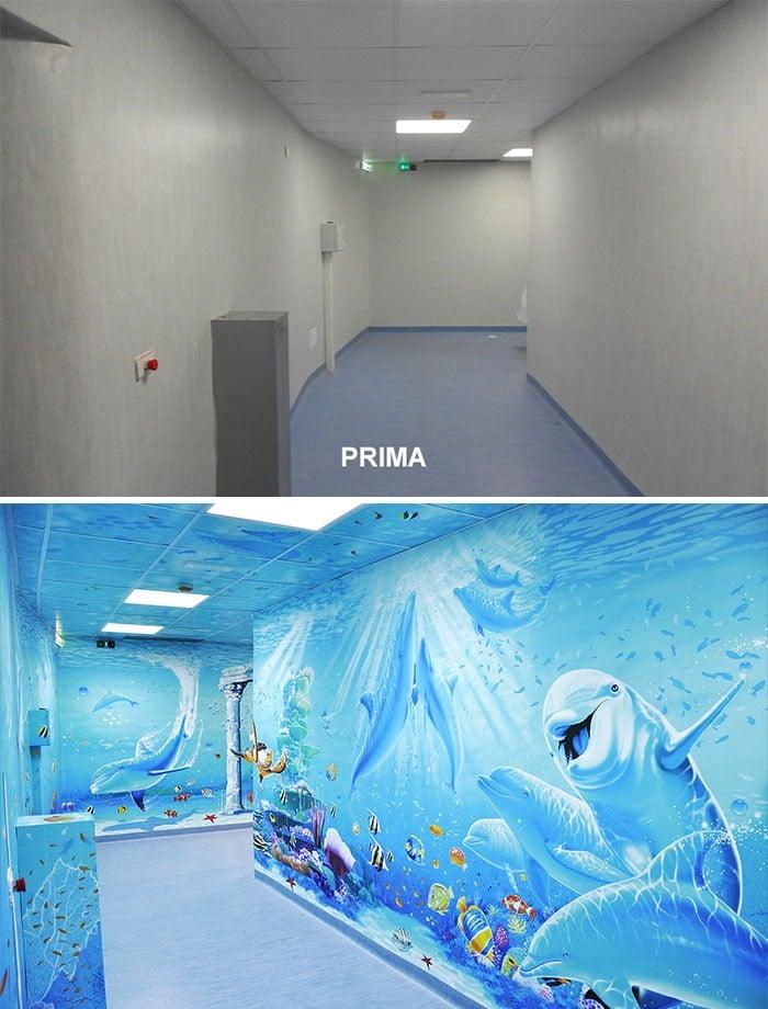 34 fotos de belos murais em hospitais do artista italiano que ajudam crianças e adultos 6