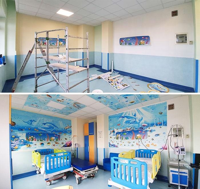 34 fotos de belos murais em hospitais do artista italiano que ajudam crianças e adultos 8