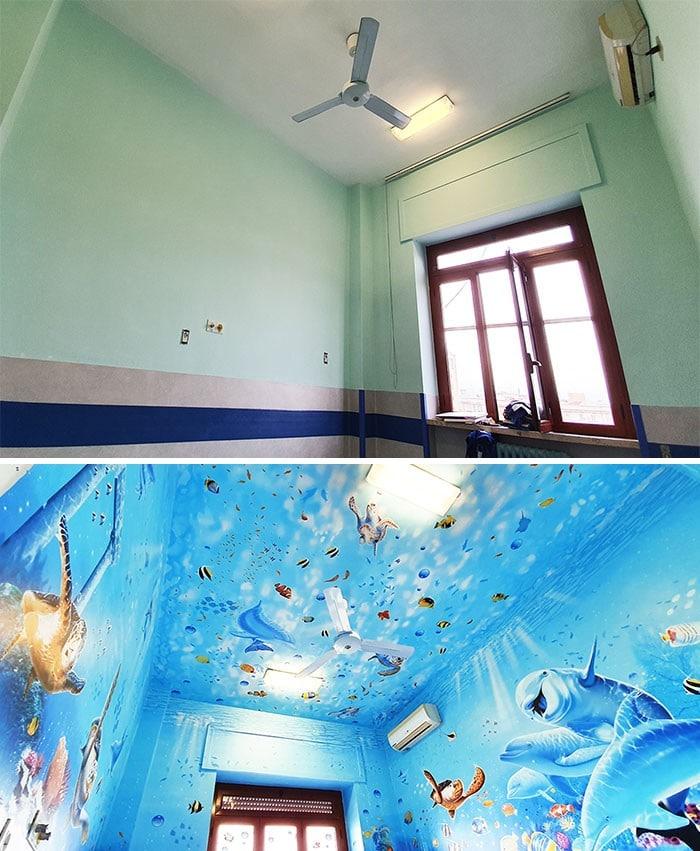 34 fotos de belos murais em hospitais do artista italiano que ajudam crianças e adultos 9