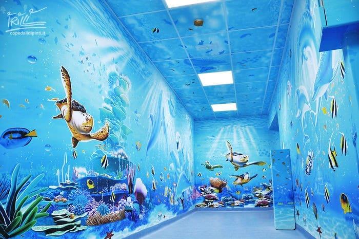 34 fotos de belos murais em hospitais do artista italiano que ajudam crianças e adultos 10