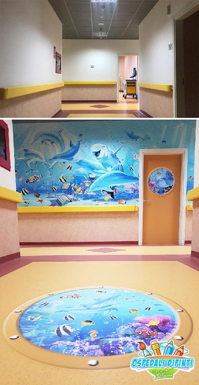 34 fotos de belos murais em hospitais do artista italiano que ajudam crianças e adultos 13
