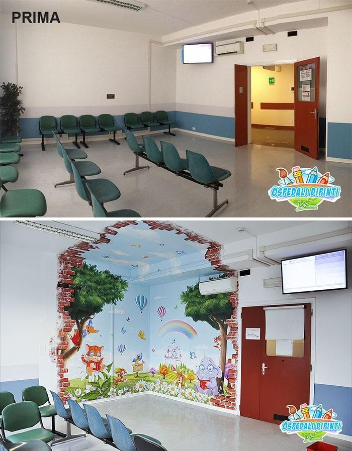 34 fotos de belos murais em hospitais do artista italiano que ajudam crianças e adultos 21