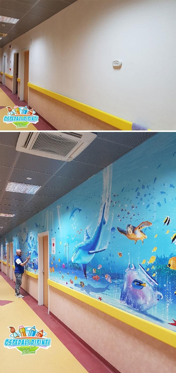 34 fotos de belos murais em hospitais do artista italiano que ajudam crianças e adultos 22