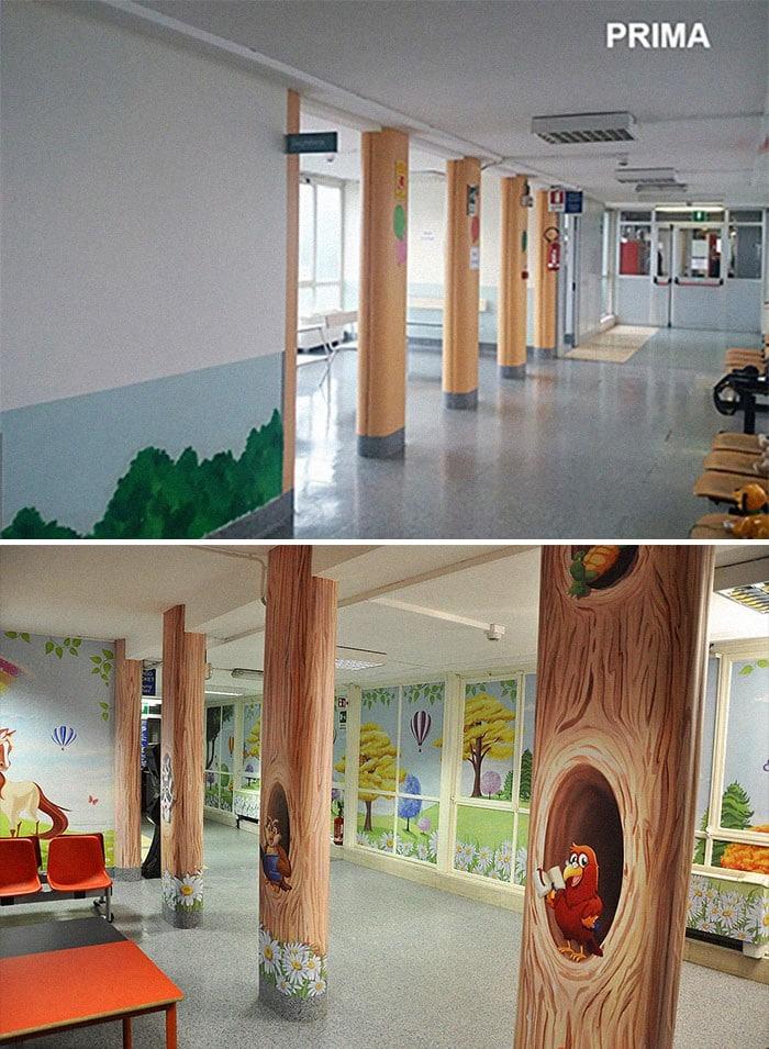 34 fotos de belos murais em hospitais do artista italiano que ajudam crianças e adultos 23