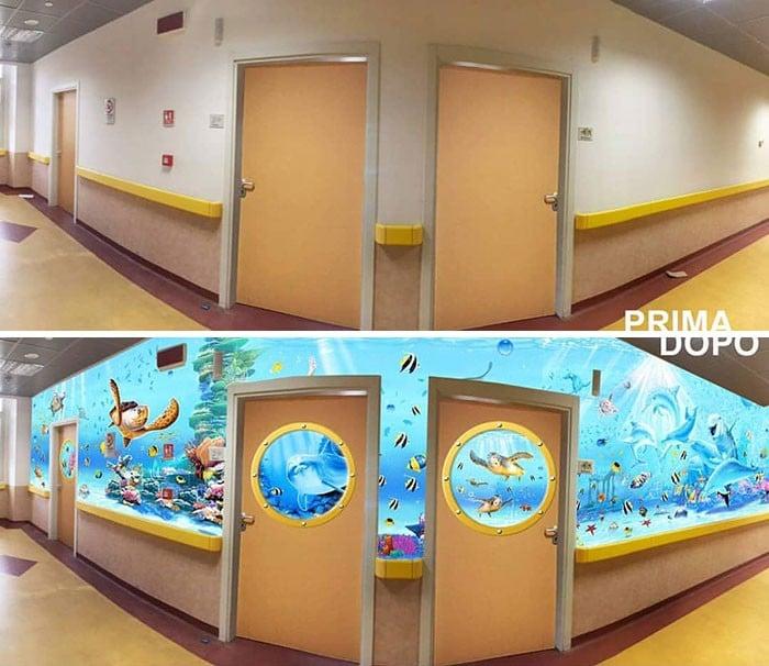 34 fotos de belos murais em hospitais do artista italiano que ajudam crianças e adultos 25