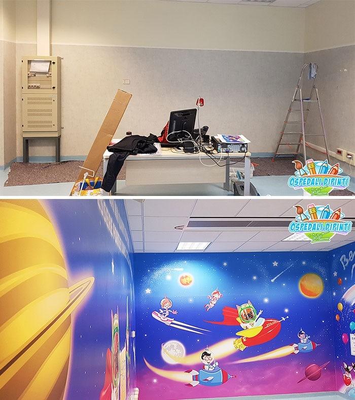 34 fotos de belos murais em hospitais do artista italiano que ajudam crianças e adultos 28