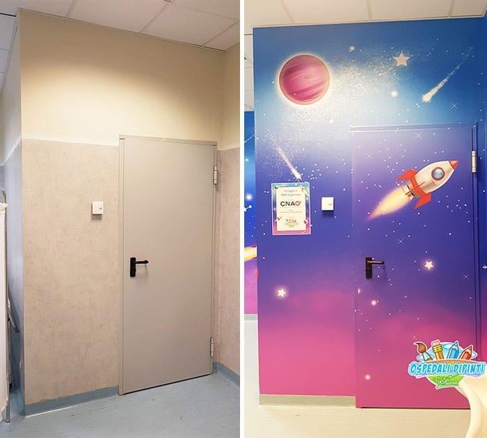 34 fotos de belos murais em hospitais do artista italiano que ajudam crianças e adultos 31