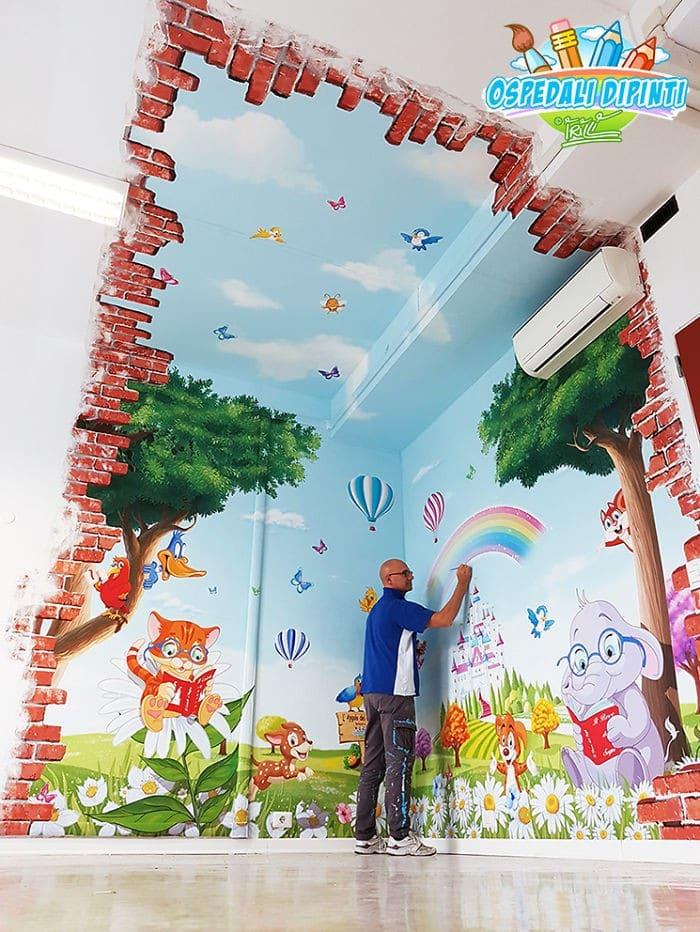 34 fotos de belos murais em hospitais do artista italiano que ajudam crianças e adultos 34