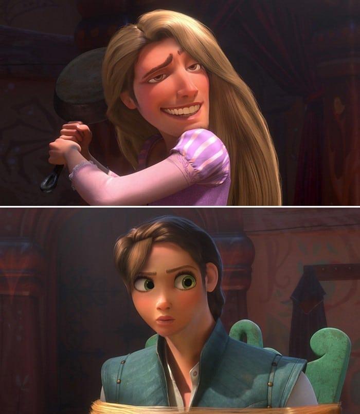 O que acontece quando você trocar os rostos de personagens de desenhos da Disney (23 fotos) 3