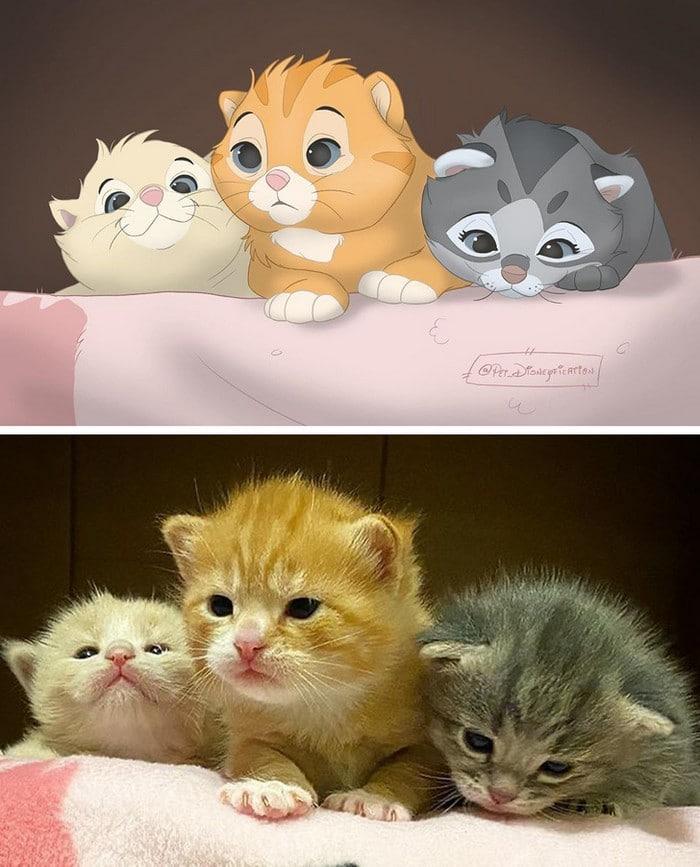 Ilustrador transforma fotos de animais de estimação em criações mágicas no estilo Disney (18 fotos) 12