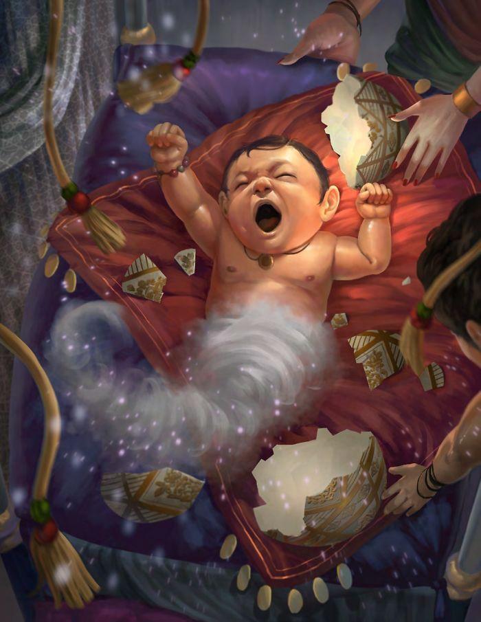 Artista retrata criaturas místicas em sua forma vulnerável, quando ainda eram bebês (30 fotos) 29