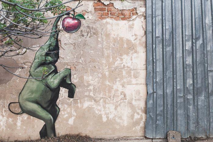 Artista sul-africano pinta grafites incríveis que interagem com o ambiente (32 fotos) 12