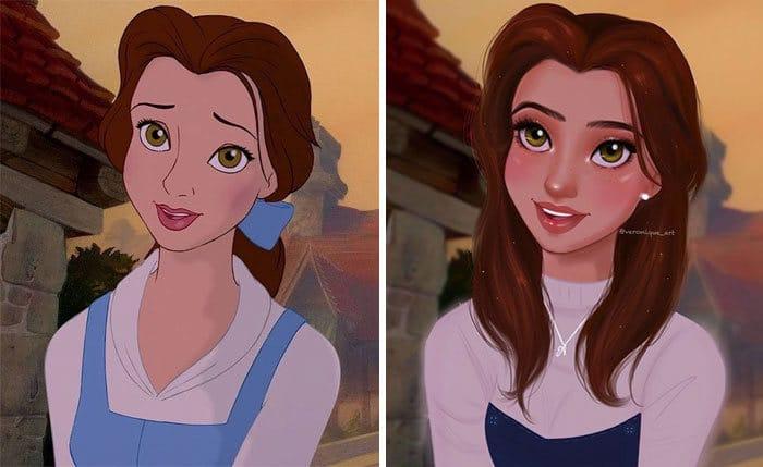 Artista reimagina personagens da Disney como mulheres e homens modernos 2