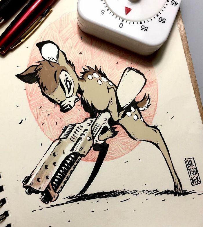 Artista russo cria ilustrações que são divertidas e assustadoras 34