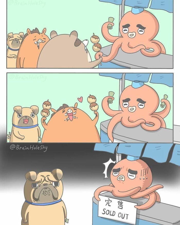 Artista taiwanês ilustra personagens fofinhos em situações engraçadas 13