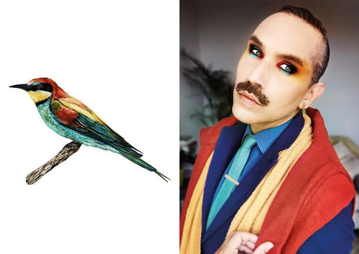 Eu crio estes looks de moda e maquiagem inspirados nos pássaros que desenho 2