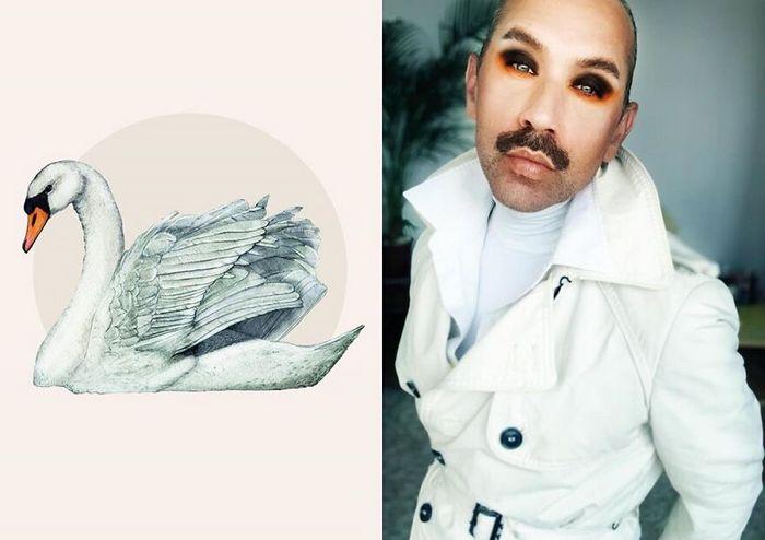 Eu crio estes looks de moda e maquiagem inspirados nos pássaros que desenho 3